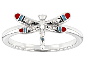 Childrens Red, Blue, And Black Enamel Rhodium Over Silver Dragonfly Ring