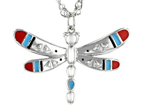 "Childrens Enamel Rhodium Over Silver Dragonfly Pendant With 12"" Chain"