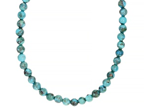 Childrens 4mm Round Turquoise Bead Rhodium Over Silver Necklace