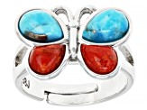 Childrens Turquoise And Coral Rhodium Over Silver Adjustable Butterfly Ring