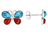 Childrens Turquoise And Coral Rhodium Over Silver Butterfly Stud Earrings