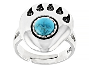 Childrens 5mm Round Turquoise Rhodium Over Silver Bear Paw Adjustable Ring