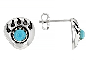 Childrens 3.5mm Round Turquoise Rhodium Over Silver Bear Paw Stud Earrings