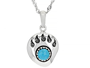 Childrens Turquoise Rhodium Over Silver Bear Paw Pendant With 12