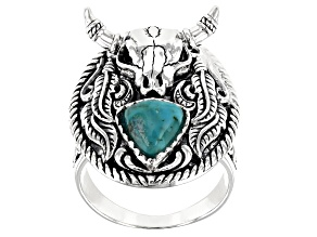 Mens 8mm Trillion Turquoise Rhodium Over Silver Longhorn Cattle Skull Ring