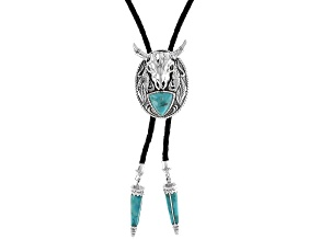Mens Turquoise Silver And Leather Cord Longhorn Cattle Skull Bolo Necklace