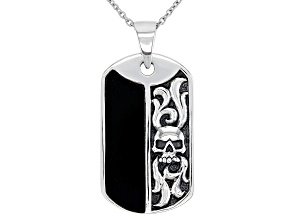 "Mens Black Onyx Rhodium Over Silver Skull Dog Tag Pendant With 24"" Chain"