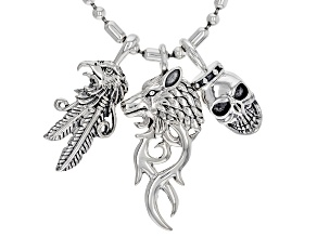 Mens Rhodium Over Silver Eagle, Wolf And Skull Necklace