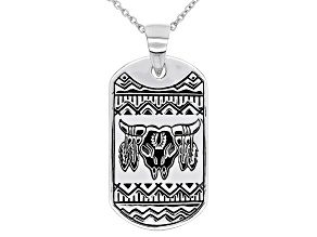 Mens Rhodium Over Silver Longhorn Cattle Skull Dog Tag Pendant With 24