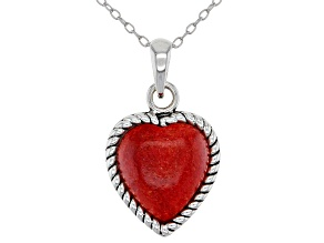 Childrens 12mm Coral Rhodium Over Silver Heart Pendant With 12