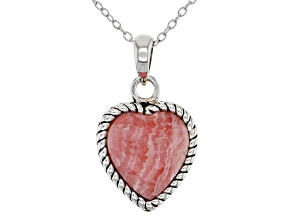 "Childrens Rhodochrosite Rhodium Over Silver Heart Pendant With 12"" Chain"