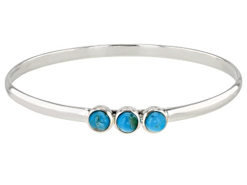 Picture of Childrens 4mm Round Turquoise Cabochon Rhodium Over Silver Bangle Bracelet
