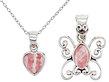 "Picture of Childrens Rhodochrosite Rhodium Over Silver Butterfly And Heart Pendant Set With 12"" Chain"