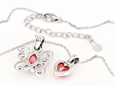 Childrens Rhodochrosite Rhodium Over Silver Butterfly And Heart Pendant Set With 12