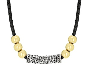 "Mens Rhodium And 18k Gold Over Silver Necklace With 20"" Leather Cord"