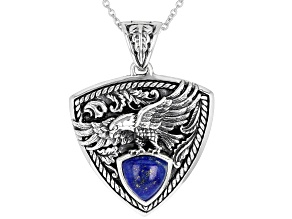 Mens Lapis Lazuli Rhodium Over Silver Eagle Enhancer With 24