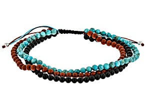 Mens Black Onyx, Red Jasper, And Turquoise  Bead Multi-Row Bolo Bracelet
