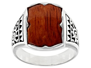 Mens Red Wood Rhodium Over Silver Solitaire Spiral Sun Solitaire Ring