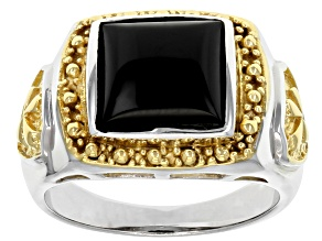 Mens Black Onyx Rhodium And 18k Gold Over Silver Cross Ring