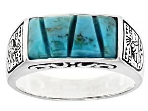 Mens Turquoise Rhodium Over Silver Kokopelli Ring
