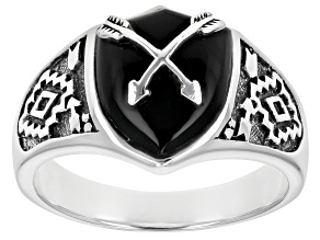 Mens Black Onyx Rhodium Over Silver Arrow Overlay Ring