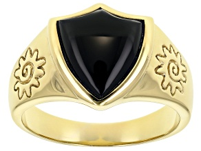 Mens Black Onyx 18k Gold Over Silver Shield And Sun Ring