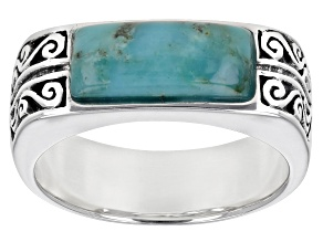 Mens Turquoise Rhodium Over Silver Band Ring