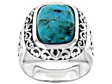 Mens Turquoise Rhodium Over Silver Cross Detail Solitaire Ring