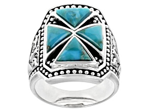 Mens Turquoise Cabochon Rhodium Over Silver Ring