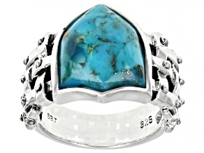 Mens Turquoise Rhodium Over Silver Solitaire Shield  Ring
