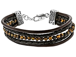 Mens Tigers Eye Leather And Rhodium Over Silver Bracelet