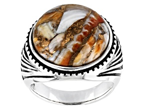 Mens Spiny Oyster Shell Rhodium Over Silver Solitaire Ring