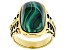 Mens Malachite 18k Yellow Gold Over Sterling Silver Ring