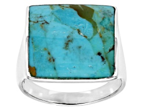 Mens Inlaid Turquoise Rhodium Over Silver Solitaire Ring
