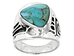 Mens Turquoise Rhodium Over Silver Tribal Pattern Solitaire Ring