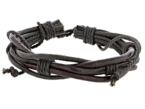 Mens Brown And Black Leather Adjustable Bracelet Set Of Three
