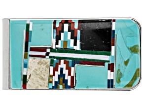 Turquoise Simulant & Multi Gem Simulant Silver Tone Money Clip