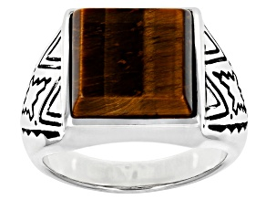 Mens Tiger's Eye Rhodium Over Silver Solitaire Ring