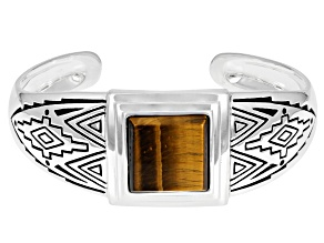 Mens Tiger's Eye Rhodium Over Silver Cuff Bracelet