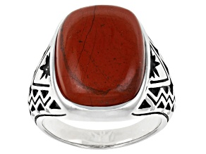 Mens Jasper Rhodium Over Silver Solitaire Ring