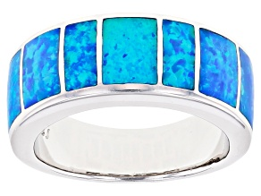 Mens Lab Created Blue Opal Rhodium Over Silver Band Ring