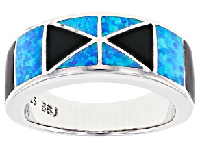 Mens Lab Created Blue Opal And Black Onyx Rhodium Over Silver Band Ring