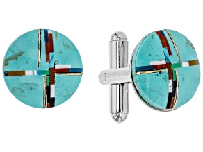 Mens Turquoise Simulant And Multi-Gem Simulant Silver Tone Cuff Links