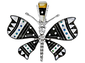 Lab Created Opal, Mother Of Pearl, And Resin Silver Butterfly Pendant
