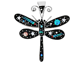 Lab Created Opal, Mother Of Pearl, And Resin Silver Dragonfly Pendant