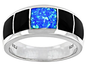Mens Lab Created Blue Opal And Black Onyx Inlay Rhodium Over Silver Band Ring