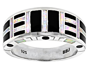 Mens Lab Created Opal And Black Onyx Inlay Rhodium Over Silver Band Ring