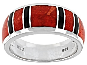 Mens Red Coral And Black Onyx Inlay Rhodium Over Silver Band Ring