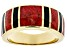 Mens Red Coral And Black Onyx Inlay 18k Yellow Gold Over Silver Band Ring