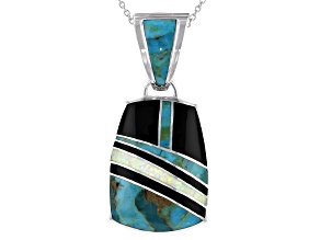 Mens Inlaid Turquoise, Onyx, Lab Created Opal Rhodium Over Silver Enhancer With 24